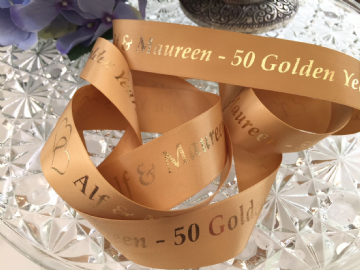 Personalised Golden Wedding Anniversary Gift Ribbon